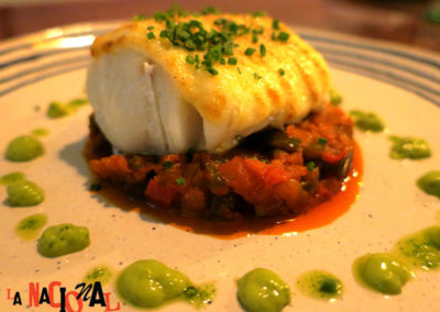 Cod with a vegetable medley in La Nacional Spanish Restaurant.